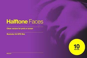 Halftone Faces - 10 Vectors