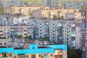 Old buildings. Crowded old housing