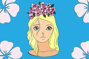 Girl with flower wreath. Vector