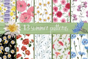13 watercolor summer patterns