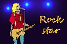 Rock girl with guitar. Vector