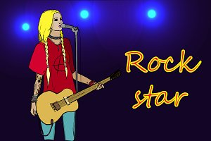 Rock girl with guitar. Vector