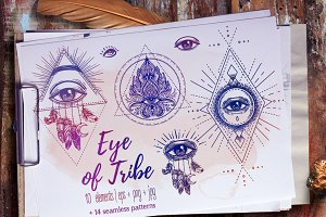 Eye of Tribe. Vector Set of 10.