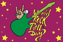 World Rock and Roll Day. Vector