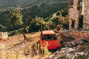 Abandoned car on mountains