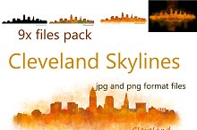9x files Pack Cleveland City Skyline