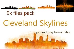 9x files Pack Cleveland City Skyline