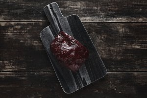 Steak raw meat set