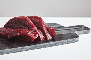 Steak raw meat set