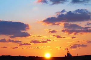 Romantic sky with sun