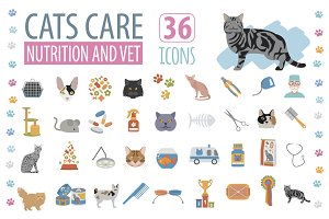 Cats care nutrition and vet icon set
