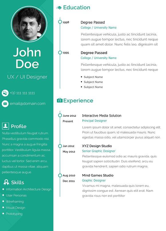 Clean Resume Design ~ Resume Templates ~ Creative Market