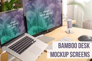 Bamboo Desk Dual Screens