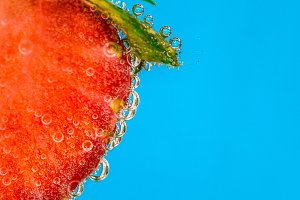 Strawberry on blue background