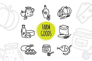 8 Doodle Icons. Farm Food