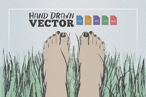 Feet in Grass Illustration