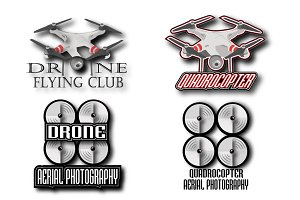 Set of drone logos, emblems
