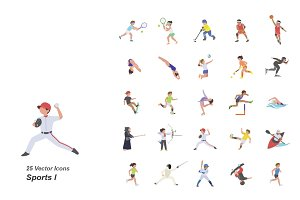Sports I color vector icons