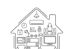 Modern home icons. Vector