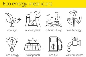 Eco energy. 12 linear icons. Vector