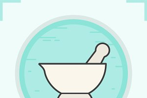 Mortar and pestle color icon. Vector