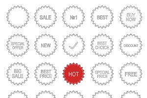 Shopping badges. 25 icons. Vector