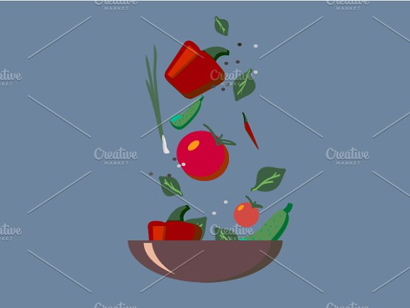 Healthy organic food in a plate. EPS - Illustrations