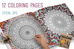 12 Coloring pages for adults