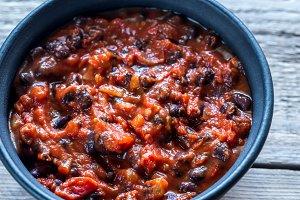 Bowl of black bean chili