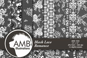 Black Lace Digital Papers, 1029