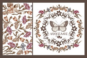 Set Butterflies Flowers Card Frame