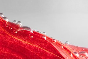 red leaf with drops