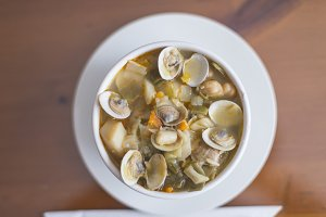 Clam soup chickpeas and cabbage
