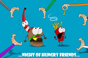 Fun cartoon fast food banners.