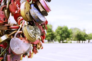 padlocks with the names of loved ones, selective focus
