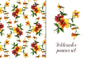 Watercolor pancies patterns