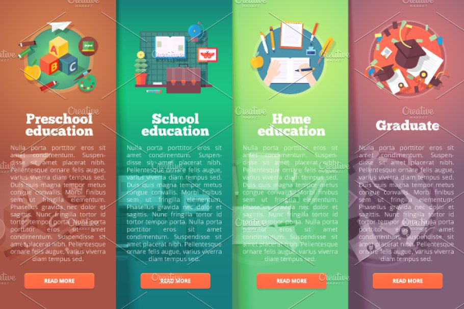 Education And Science Banners Set Pre Designed Illustrator Graphics Creative Market