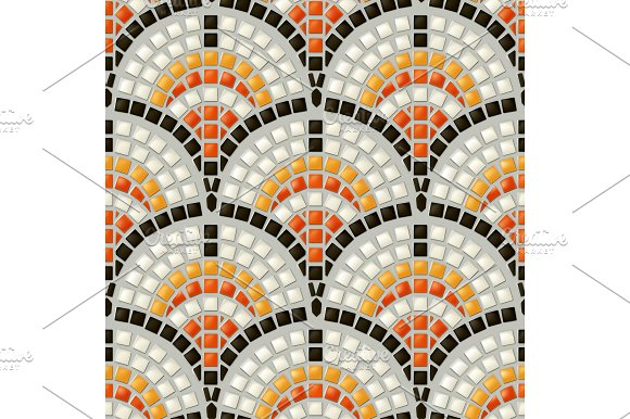 Antique mosaic, seamless pattern