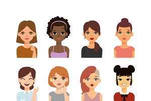 Woman emoji face vector icons.