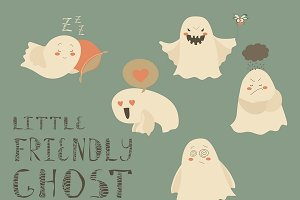 Ghosts emoticon halloween set