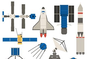 Space ship transport vector set.