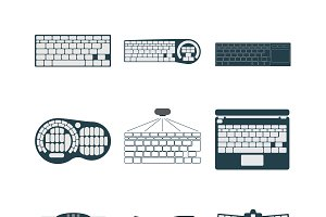 Keyboard vector icons set.