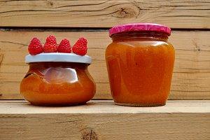 handmade jam pot and raspberries