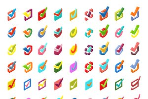 Check vote icons vector set.