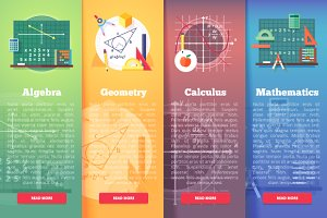 Mathematics science banners set