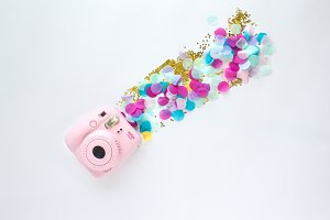 Pink Camera, Confetti | Styled Stock