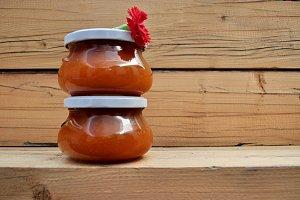 two pots apricot jam