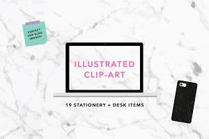 Illustrated Stationery Flat Lay Set