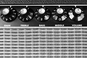 Guitar amplifier closeup