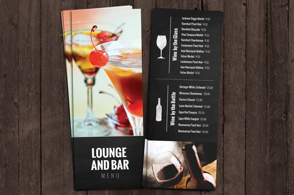 bar and lounge drink menu brochure templates creative market